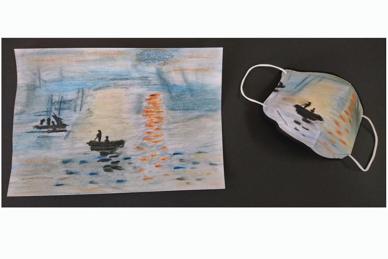 """Klasse 9: """"Kunstmaske"""" (nach einem zunächst """"kopierten"""" Kunstwerk, Pastellkreide, von Emma Pfitzner)"""