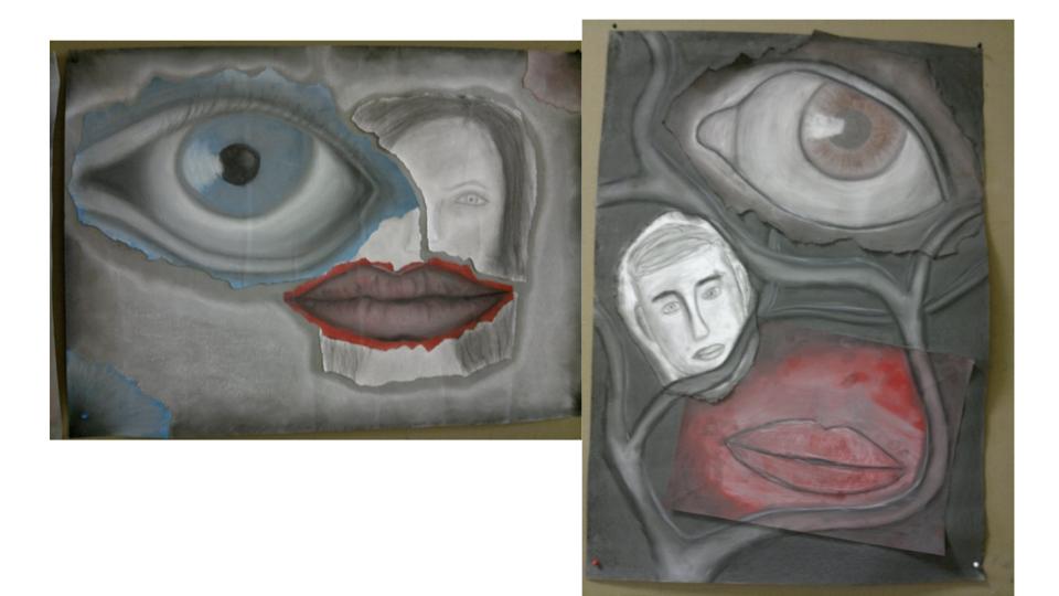 Klasse 10: Kreiden und Kohle, Acrylfarbe - Zeichnung und Collage - Zwei Sinne
